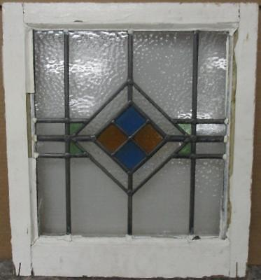 """OLD ENGLISH LEADED STAINED GLASS WINDOW Simple Geometric Design 17.25"""" x 19.5"""""""