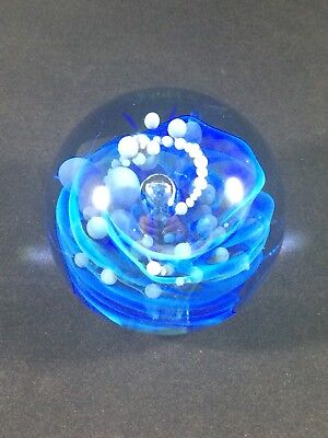 Seegers and Fein Art Glass Studio Paperweight Blue Swirls/Ocean Bubbles 3""