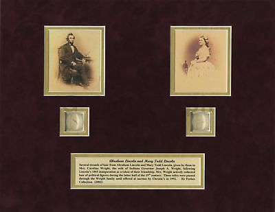 Abraham Lincoln & Mary Todd Lincoln - Strands of Hair Display - With Provenance
