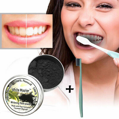 Teeth Whitening Natural Organic Activated Charcoal Bamboo Powder With Toothbrush