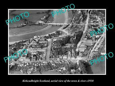 OLD LARGE HISTORIC PHOTO OF KIRKCUDBRIGHT SCOTLAND, THE TOWN & RIVER c1930 2