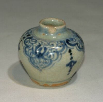 Small Antique Chinese Blue White Porcelain Vase Jar Ming