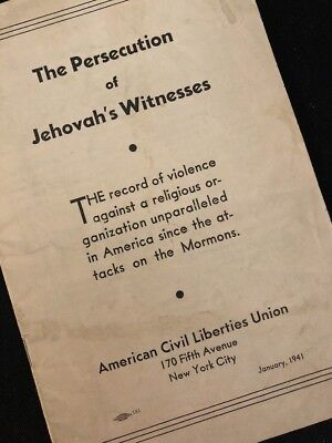 """Watchtower Related Booklet """"THE PERSECUTION OF JEHOVAH'S WITNESSES"""" January1941"""