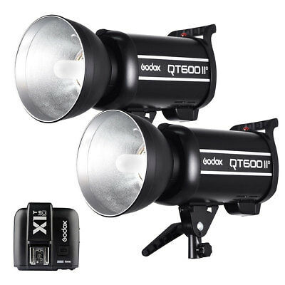 2PCS Godox QT-600IIM 2.4G Studio Strobe Flash Light + X1T-C Transmitter 200-240V