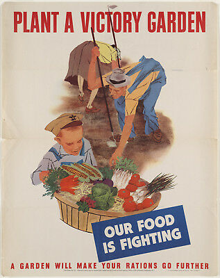 """1940s """"Plant A Victory Garden"""" Vintage Style WW2 Army Poster -12x15"""