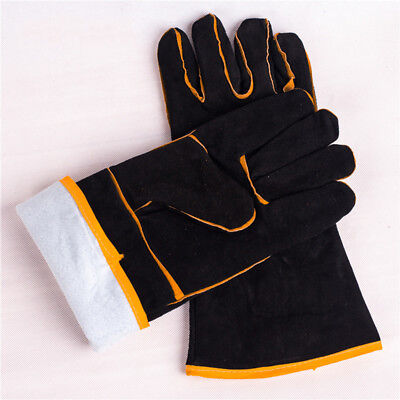 Pair of 35cm Heavy Duty Black Mig Welding Gauntlets Welders Leather Gloves UK