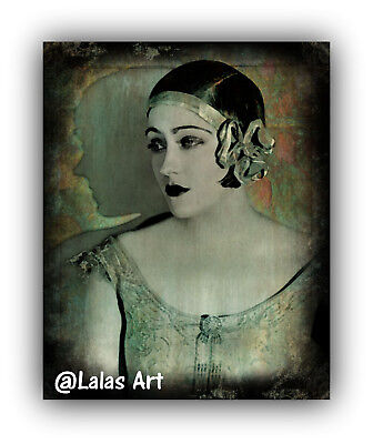 Vintage style Painting of Gloria Swanson 1920s Retro art Flapper girl