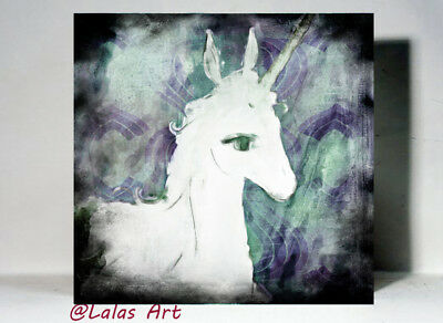 Unique Watercolor print on wood Painting The Last Unicorn Mix media by Artist