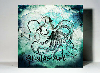 Sea creature Octopus Painting Vintage Retro style Art Home décor Wall Art Beach