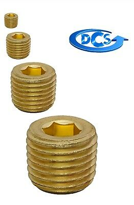 """Brass Pipe Fitting Plug-High Pressure Hex  Drive-1/16"""" NPT Plug-With Sealant-New"""