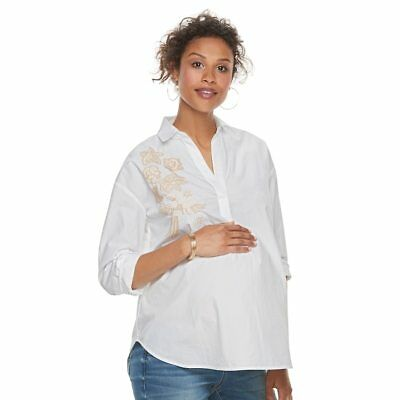 CLEARANCE NWT A:GLOW  White  100% Cotton Embroidered Maternity Shirt Size LARGE