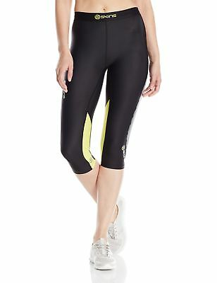 Skins Women's DNAmic Compression 3/4 Capri Tights Black/Limoncello X-Small New