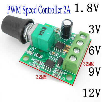 DC Motor 1.8V 3V 5V 6V 12V PWM Speed Controller 2A Potentiometer Knob Switch UK