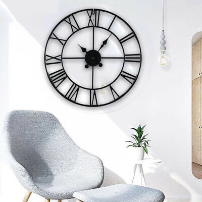 Large Round Wall Clock Metal Skeleton Roman Numeral Indoor Garden Outdoor Black