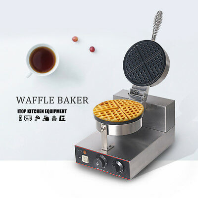 Commercial Nonstick Electric Dual Rotary Waffle Baker Maker Machine Stainless