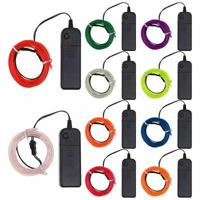 3M 3V Battery Operated Luminescent Neon LED Lights Glow EL Wire Party Strip Rope
