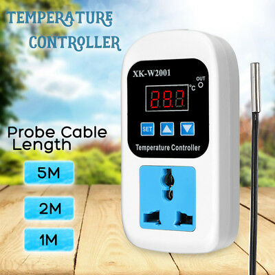 Digital Probe Temperature Controller Thermostat Switch Heater Cool 110-220V