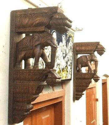 Elephant Corbel Pair Handcarved Wooden Bracket Estate Wall Elefant Home Decor US
