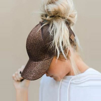Womens Glitter Baseball Cap, Hat with Hole for ponytail, Bun - Sparkly Brown