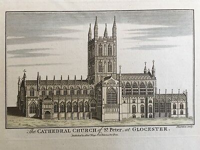 1784 Antique Print; Gloucester Cathedral