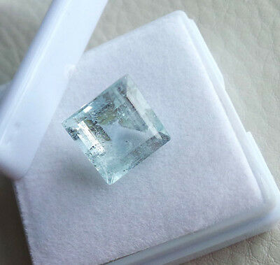 Breathtaking 9.50 Cts Top Natural Untreated Aquamarine Square Cut Certified Gem