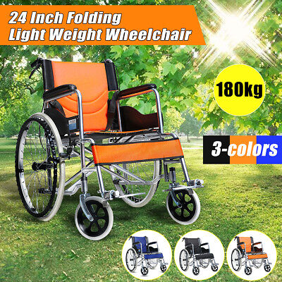 Folding Lightweight Manual Wheelchair Disabled Elderly Mobility Equipment 250lbs