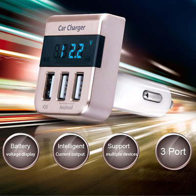 Quick Charge 5V 3.1A Car Charger 3 USB Port Smart Fast Charging Display Adapter