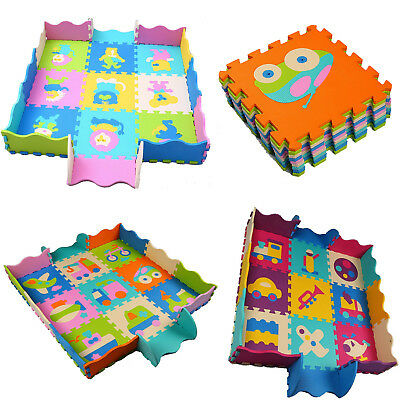 Kids Puzzle Play Mat Foam Tiles Non Toxic Extra Thick Collapsible Fence Edging
