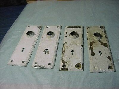 4 Antique  Solid Solid Brass Door Knob Back Plates Painted-2 Are Chrome Under