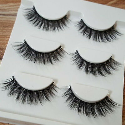3pcs 3D Luxurious Real Mink Natural Cross Long Thick Eye Lashes False Eyelashes