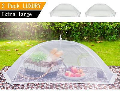 (2 Pack) Giant Food Covers, 100% Organza Net Pop-Up Tent for BBQ Picnic Outdoor