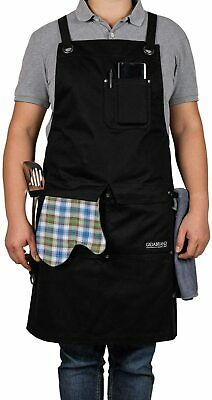 Professional Chef Kitchen BBQ Apron with Double Towel Loop, 3 Pockets, M-XXL