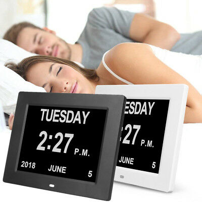LCD LED Dementia Digital Calendar Day/Week/Month/Year Clock Alarms Large Letters