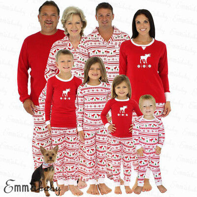 Family Matching Christmas Sleepwear Women Men Kids Xmas Nightwear Xmas Pajamas