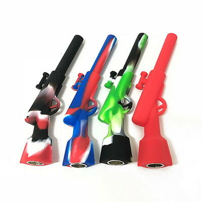 Silicone Smoking Pipe Long Shape Tobacco Cigarette Mini Pipes Weed Hand NG09