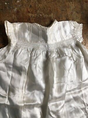 "Vintage BABY CHRISTENING GOWN Silk Cream 20"" Plain But Beautiful"