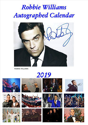 Robbie Williams Autographed Calendar 2019 Portrait A4