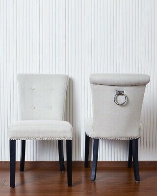 Pair of Cream Button Back Linen Dining Chairs Chrome Knocker and Studs Black Leg