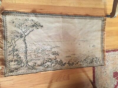 Antique Victorian NAPOLI Italy Tapestry 1800s Erupting Volcano & Ships In Cove