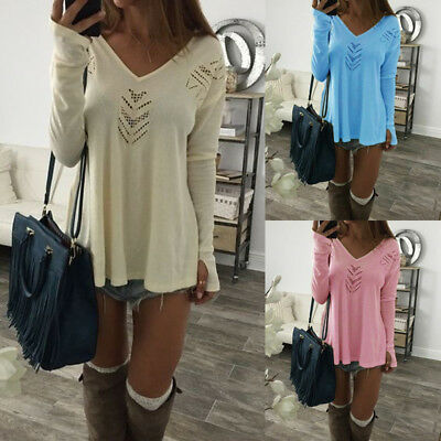 US Autumn Womens Casual Tops Blouse Long Sleeve V-Neck Solid T-Shirt Ladies