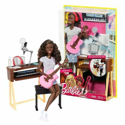New Musician Barbie Playset w/ Keyboard Guitar Microphone & Desk Doll Official