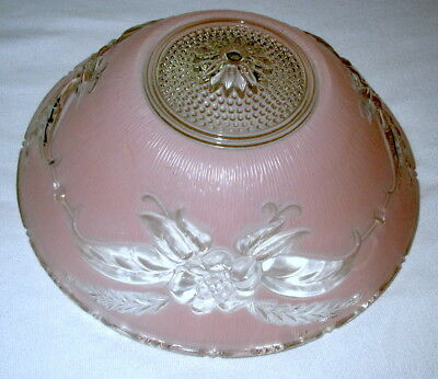 Vtg Art Deco Ceiling Lamp Fixture Bowl Chandelier Frosted Glass Pink Floral 10