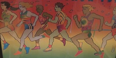Vintage PETER MAX 1995 NYC MARATHON Pro Framed GREAT RUNNER GIFT Ex Condition