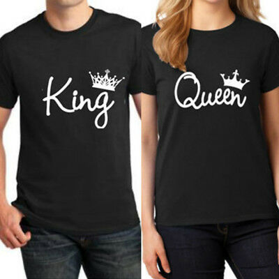 Women Men Couple Lovers T-Shirt King And Queen Love Matching Shirts Unisex Tops