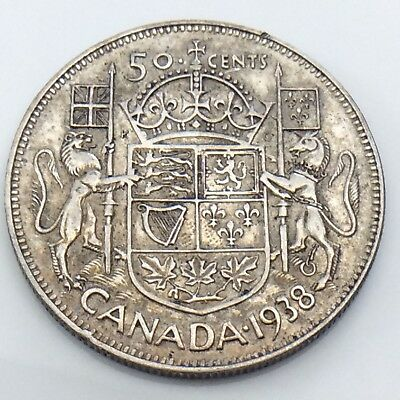 1938 Canada 50 Fifty Cent Half Dollar Canadian Circulated King George Coin G467