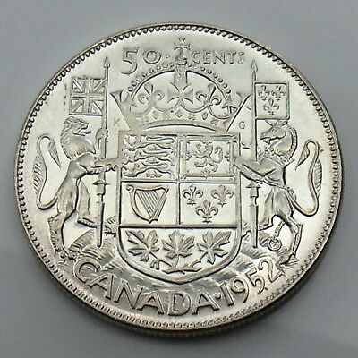 1952 Canada 50 Fifty Cents Half Dollar King George Canadian Lustrous Coin G480