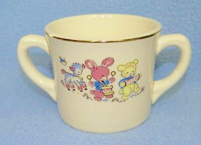 Vintage child's two handled cup with animal parade decal Salem China Salem Ohio