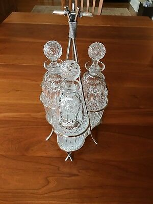 Silverplate Tantalus Set with 3 Cut Crystal Decanters - Victorian 1880s