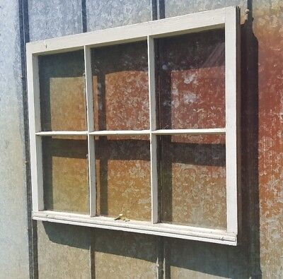 VINTAGE SASH ANTIQUE WOOD WINDOW UNIQUE FRAME PINTEREST 6 PANE 33x27