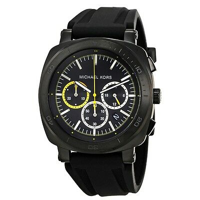 3fdf7c686687 Michael Kors MK8554 Bax Black Dial Silicone Strap Chronograph Men's Watch  NWT